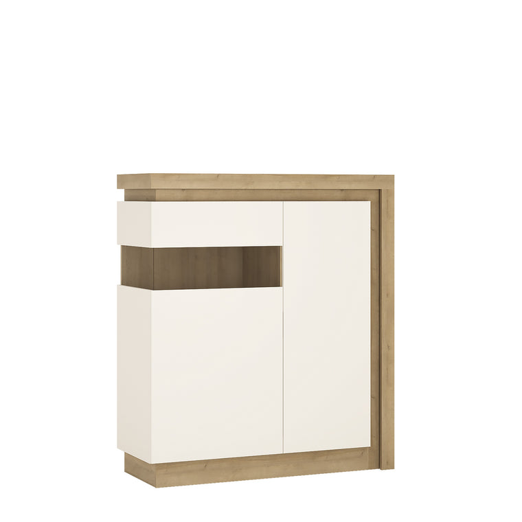 Axton Woodlawn 2 Door Designer Cabinet (LH) In Riviera Oak/White High Gloss