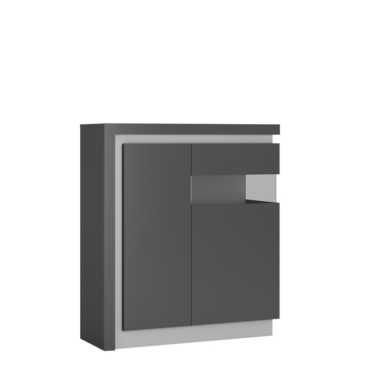Axton Woodlawn 2 Door Designer Cabinet (RH) In Platinum/Light Grey Gloss