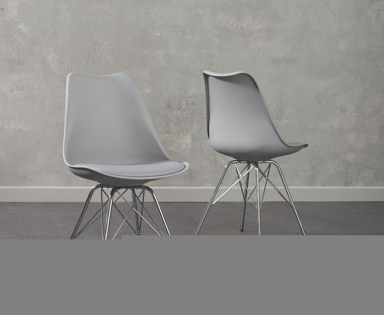 Mark Harris Calabasus Chrome Leg Light Grey Faux Leather Chairs (Pair)