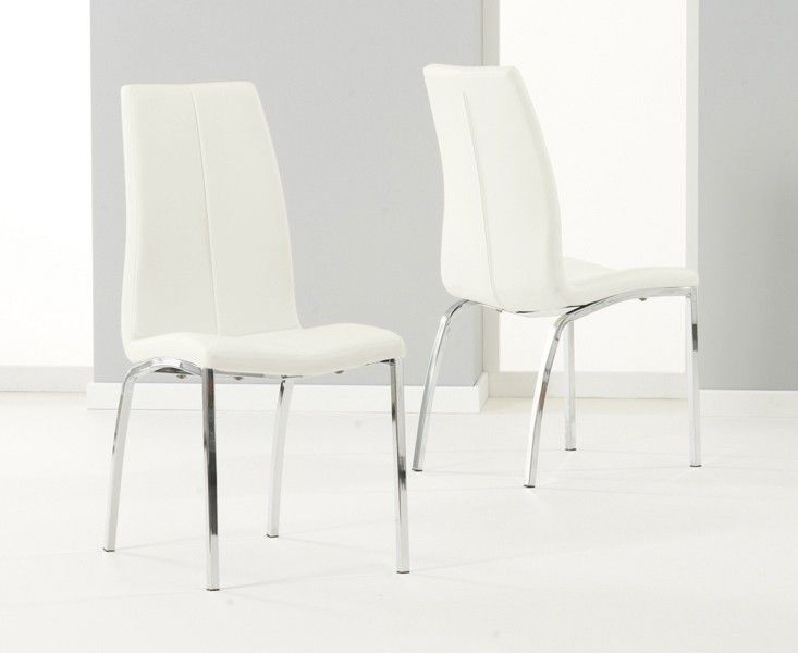 Mark Harris Carsen Cream Pu Leather & Chrome Dining Chairs (Pair)