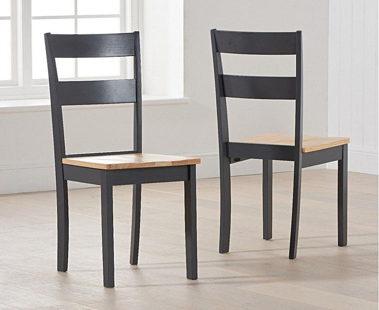 Mark Harris Chichester Solid Hardwood & Painted Dining Chairs (Pairs) - Oak & Dark Grey