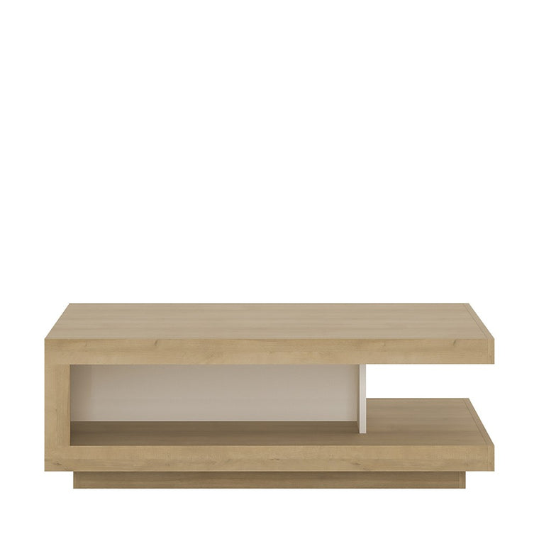 Axton Woodlawn Designer Coffee Table In Riviera Oak/White High Gloss