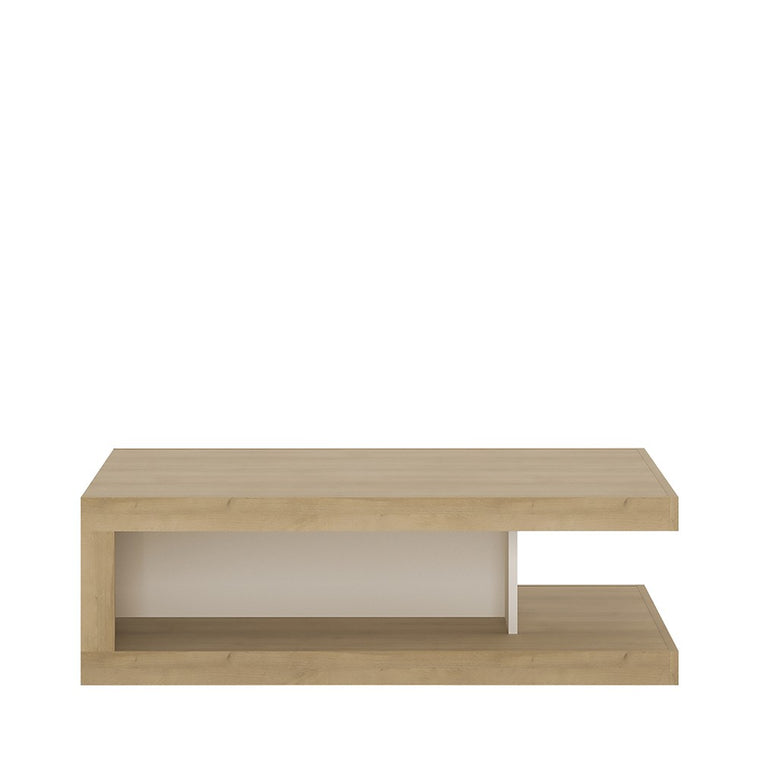 Axton Woodlawn Designer Coffee Table On Wheels In Riviera Oak/White High Gloss