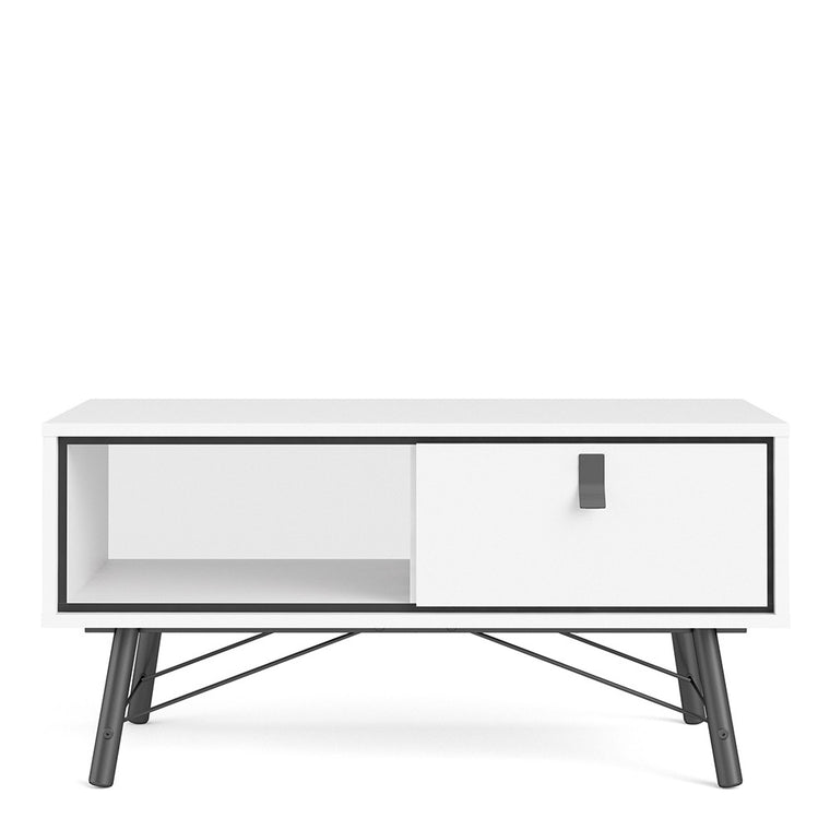Axton Longwood Coffee Table With 1 Drawer In Matt White