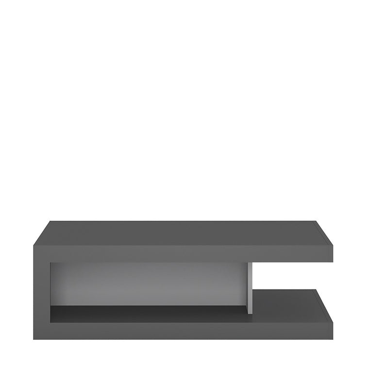 Axton Woodlawn Designer Coffee Table On Wheels In Platinum/Light Grey Gloss