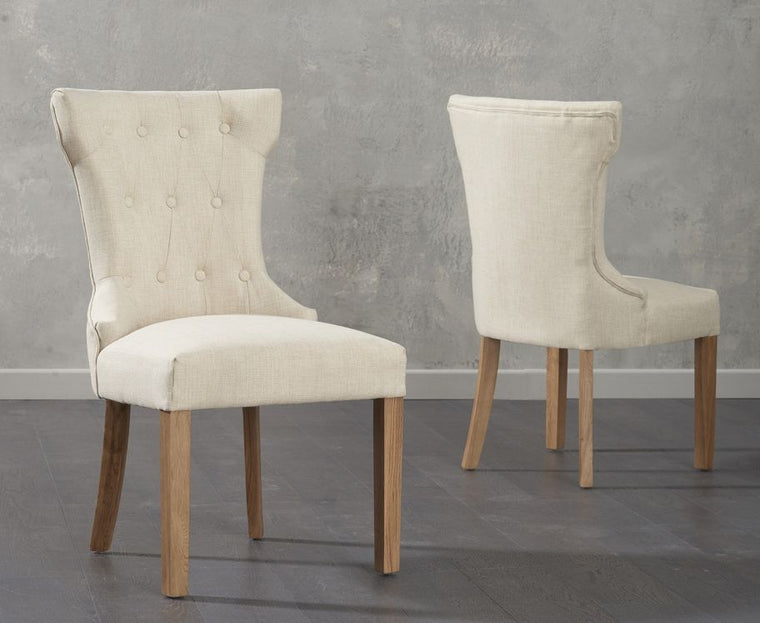 Mark Harris Courtney Beige Fabric Dining Chairs (Pair)
