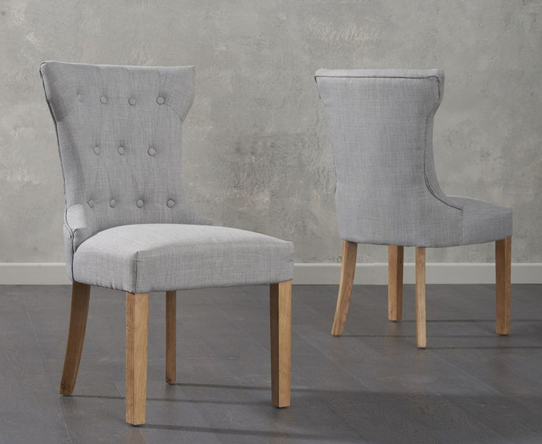Mark Harris Courtney Grey Fabric Dining Chairs (Pair)