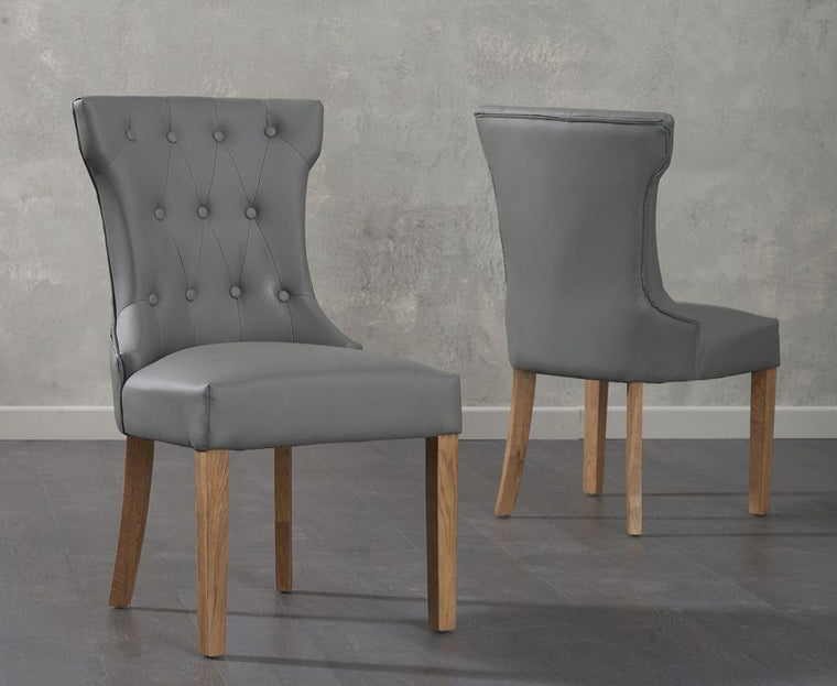 Mark Harris Courtney Grey Faux Leather Dining Chairs (Pair)
