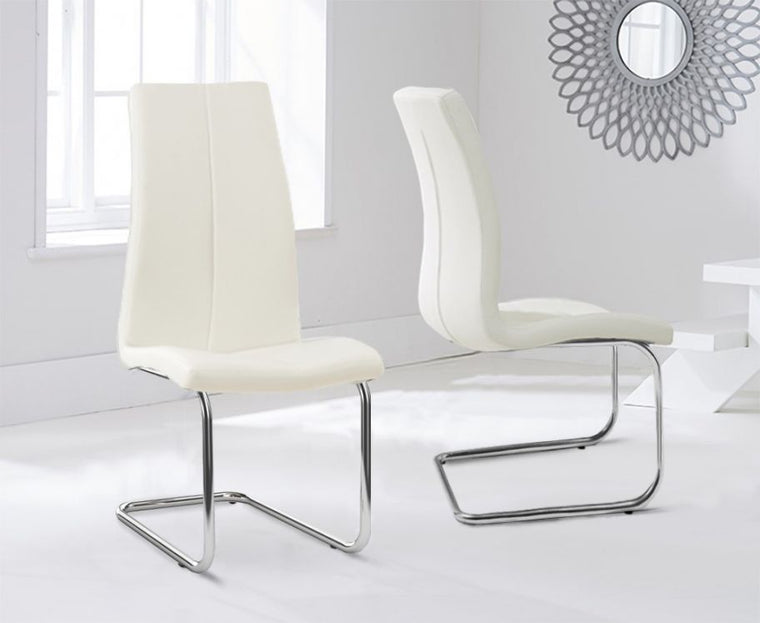 Mark Harris Tonia Hooped Leg Pu Cream Dining Chairs (Pair)