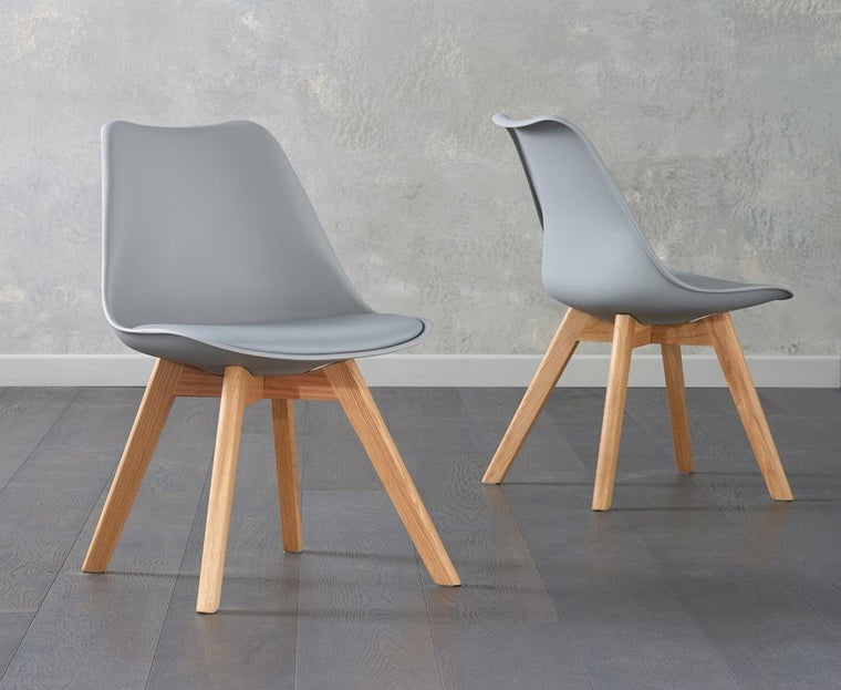 Mark Harris Dannii Light Grey Faux Leather Chairs (Pair)