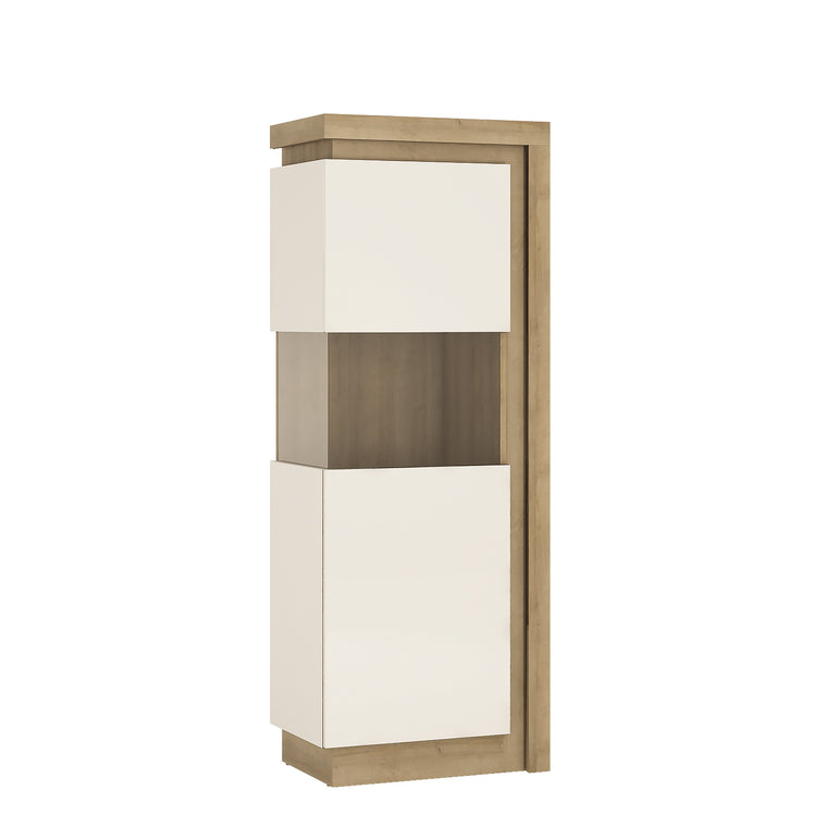Axton Woodlawn Narrow Display Cabinet (LHD) 164.1cm High In Riviera Oak/White High Gloss