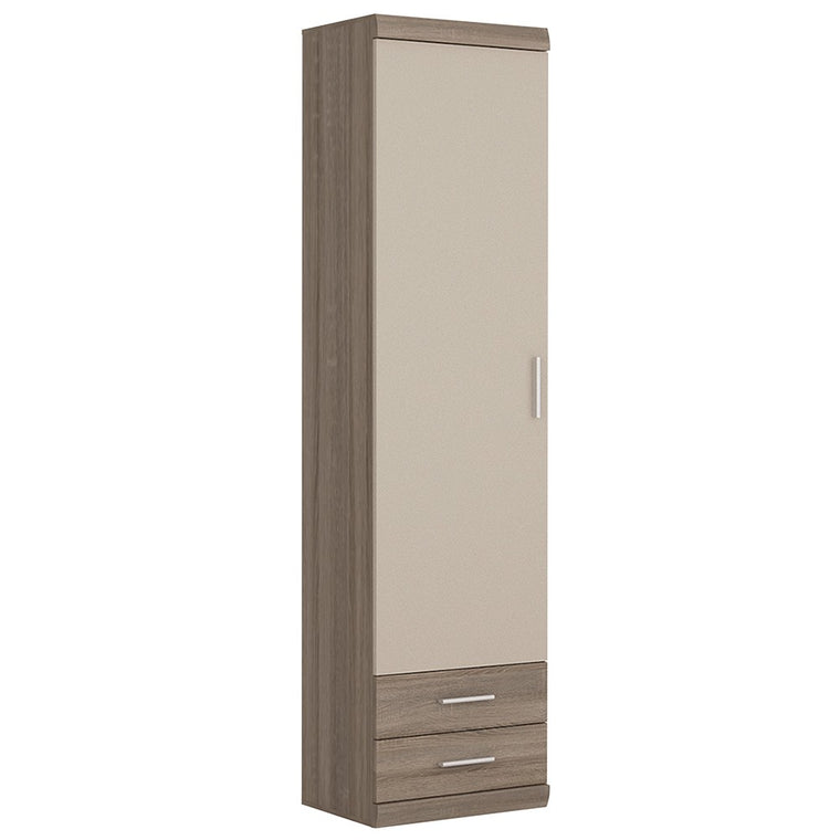 Axton Spuyten Tall 1 Door 2 Drawer Narrow Cabinet in Oak/Champagne