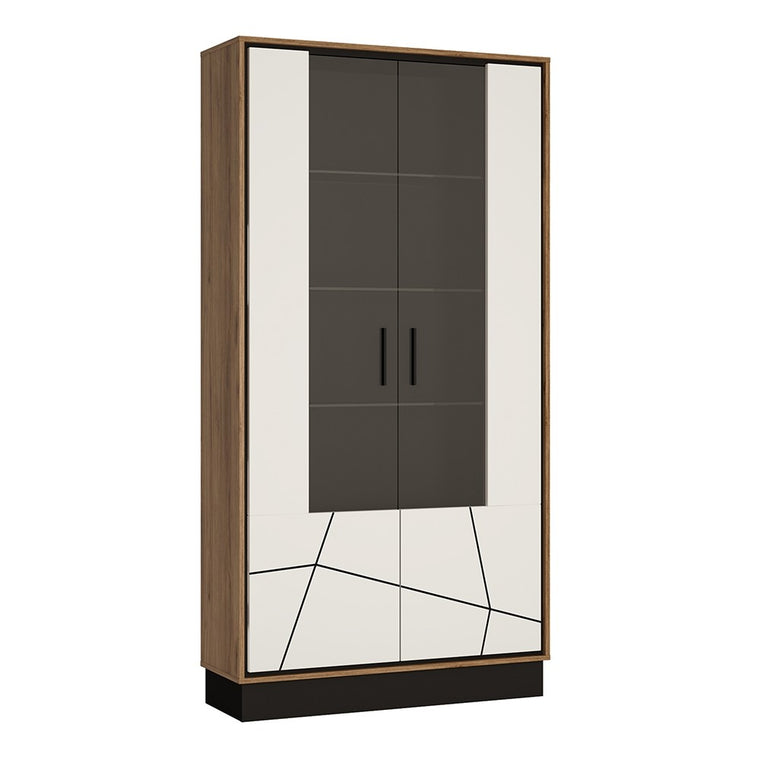 Axton Belmont Tall Wide Glazed Display Cabinet With The Walnut And Dark Panel Finish