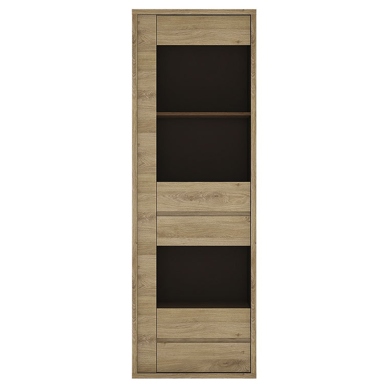 Axton Kingsbridge 1 Door 1 Drawer Narrow Glazed Display Cabinet