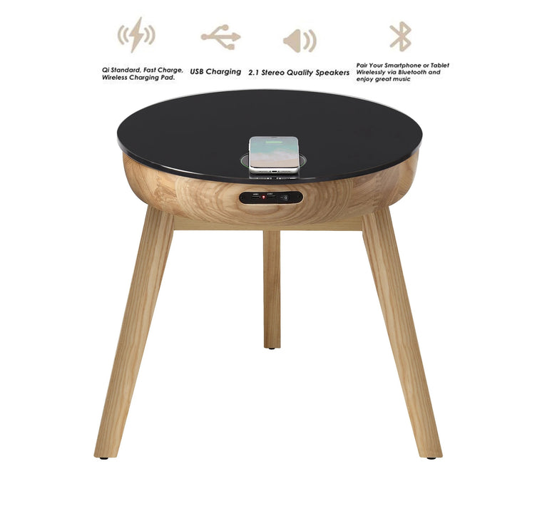 Jual San Francisco Speaker/Charging Smart Lamp Table Oak & Black Glass