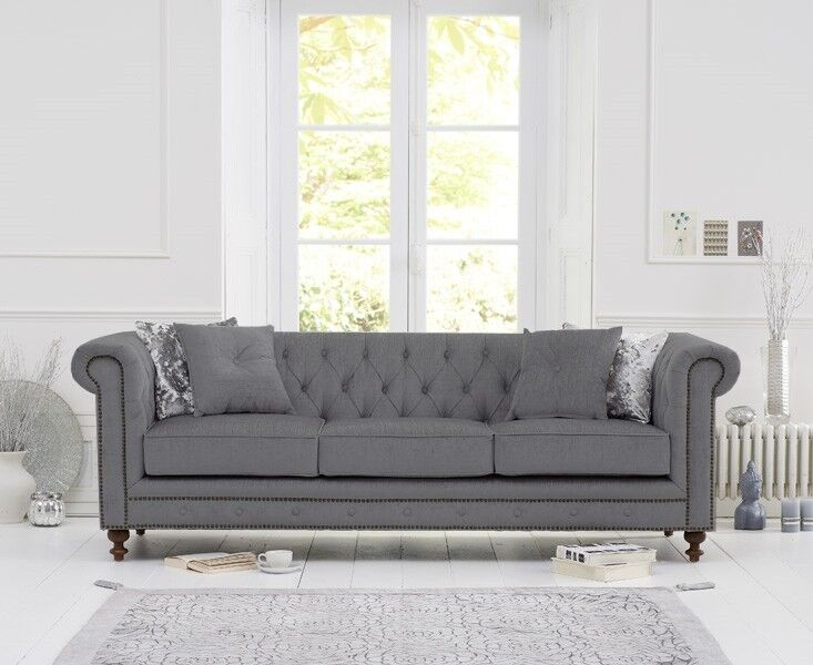 Mark Harris Montrose Grey Linen Fabric 3 Seater Sofa