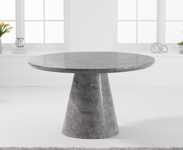 Mark Harris Ramiro 130cm Round Grey Marble Dining Table