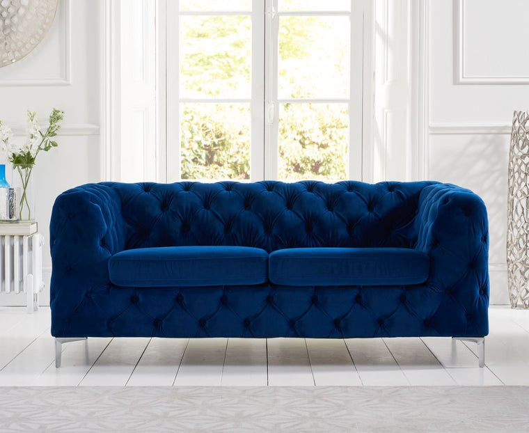 Mark Harris Alegra Blue Plush 2 Seater Sofa