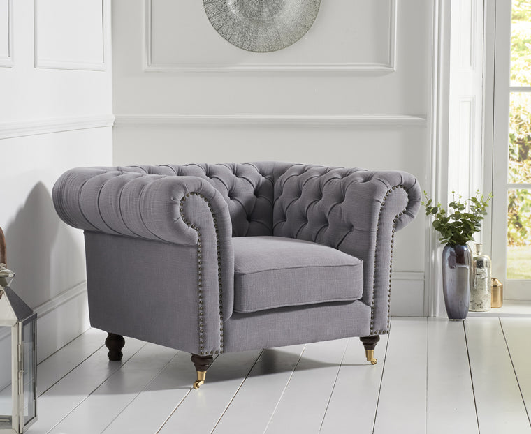 Camara Chesterfield Grey Linen Armchair