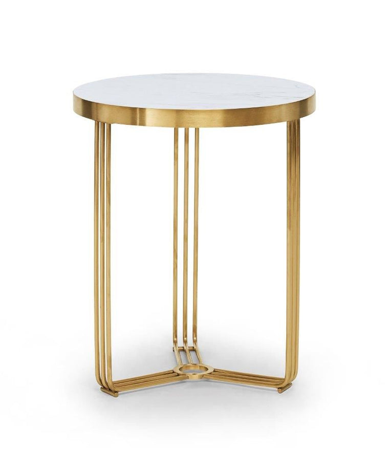 Gillmore Space Finn Circular Side Table White Marble Top & Brass Frame