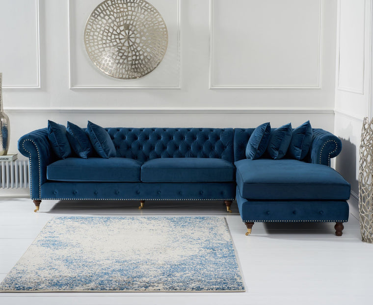 Mark Harris Fiona Blue Velvet Right Facing Chesterfield