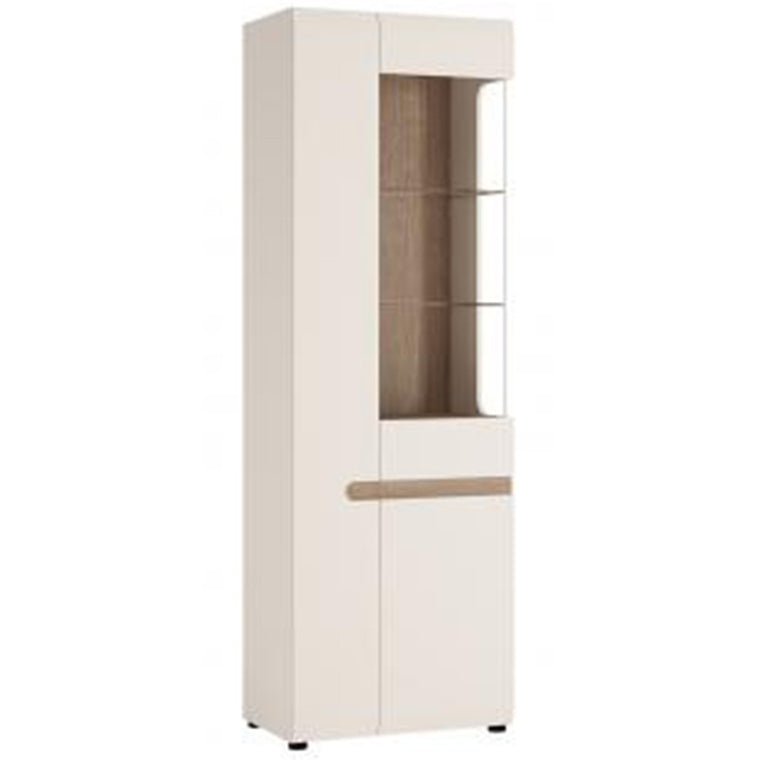 Axton Norwood Living Tall Glazed Narrow Display Unit (LHD) In White With A Truffle Oak Trim