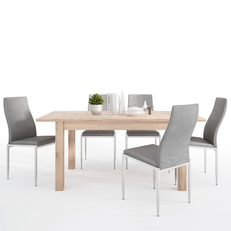 Axton Eastchester Extending Dining Table in Oak + 6 Milan High Back Chair Grey