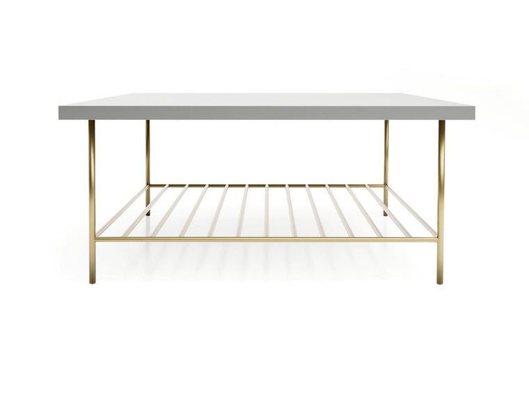 Gillmore Space Alberto Square Coffee Table Grey With Brass Accent