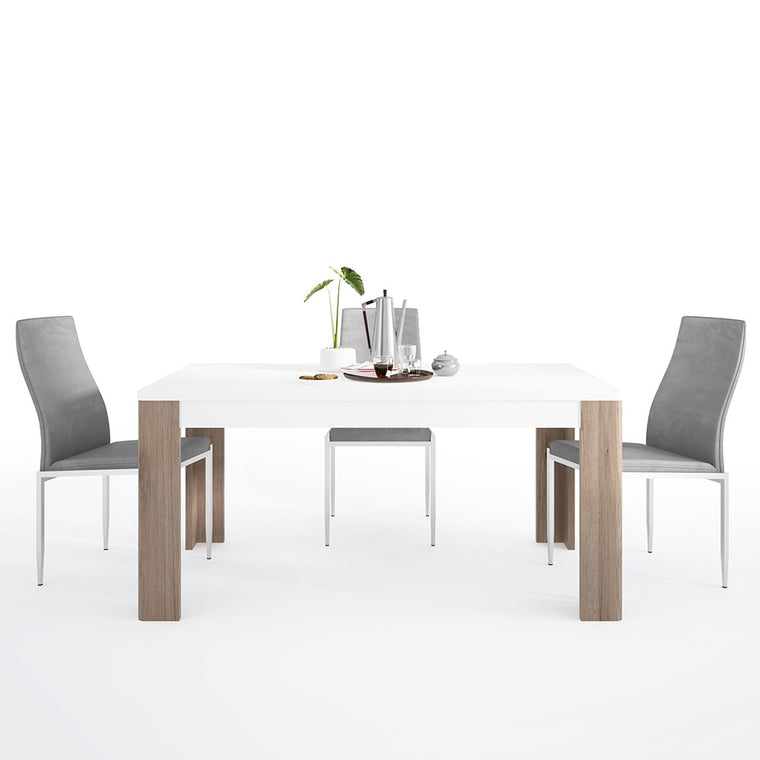Axton Bronxdale 160 cm Dining Table + 4 Milan High Back Chair Grey
