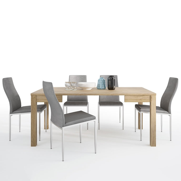 Axton Kingsbridge Extending Dining Table + 6 Milan High Back Chair Grey