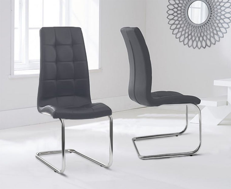 Mark Harris Lucy Hoop Leg Pu Grey Dining Chairs (Pair)