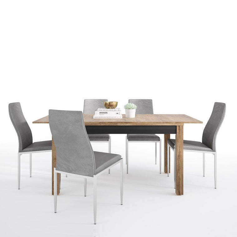 Axton Morris Extending Dining Table + 4 Milan High Back Chair Grey