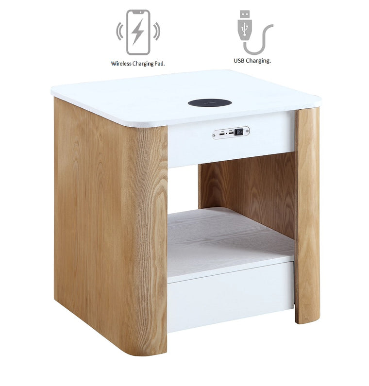 Jual Furnishings San Francisco Smart Charging Bedside/Lamp Table (White/Oak)