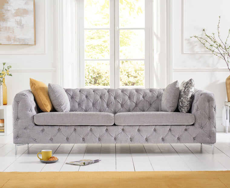 Mark Harris Alegra Grey Plush 3 Seater Sofa