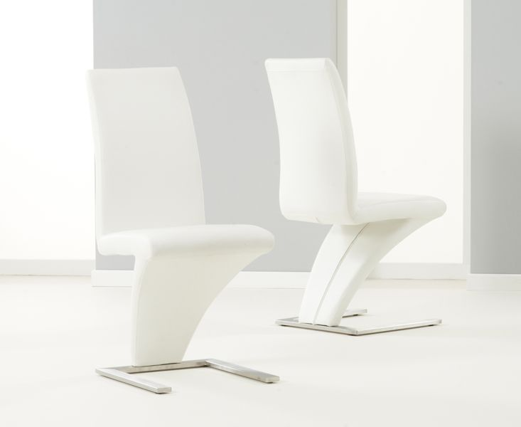 Mark Harris Hereford White Pu Leather & Chrome Chairs (Pairs)