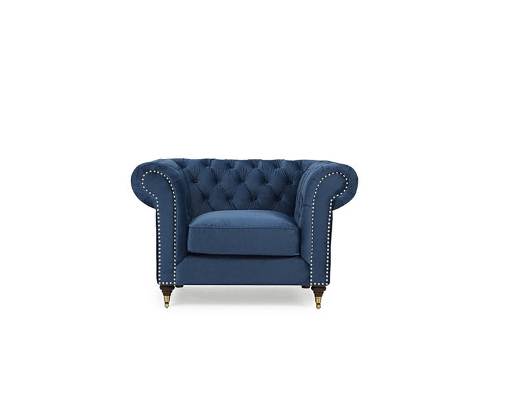 Mark Harris Camara Chesterfield Blue Velvet Armchair