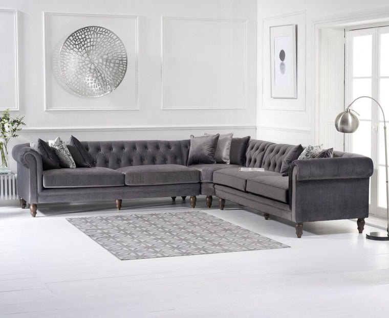 Mark Harris Lauren Grey Velvet 2 + 2 Corner Sofa