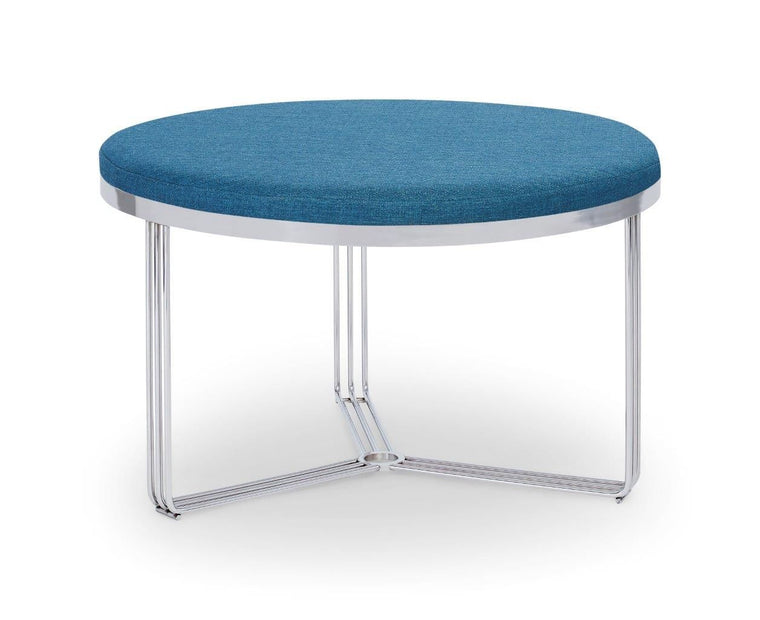 Gillmore Space Finn Small Circular Coffee Table Or Footstool Admiral Blue Upholstered & Polished Chrome Frame