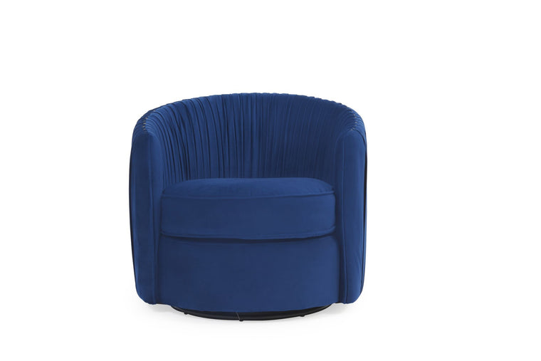 Mark Harris Sarana Blue Velvet Swivel Chair