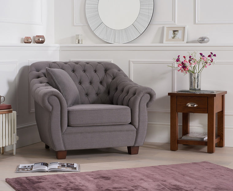 Mark Harris Liv Chesterfield Grey Fabric Armchair