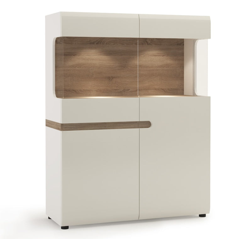 Axton Norwood Living Low Display Cabinet 109 cm Wide In White With A Truffle Oak Trim