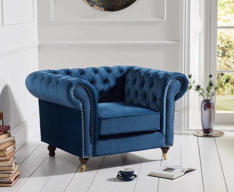 Camara Chesterfield Blue Velvet Armchair