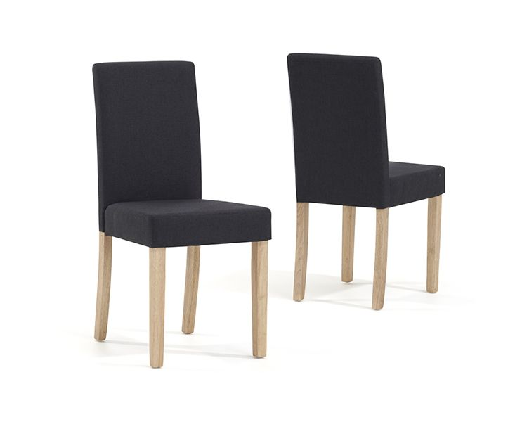 Mark Harris Maiya Black/Dark Grey Weave Fabric Chairs (Pairs)