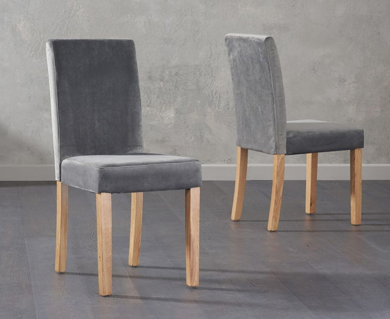 Mark Harris Maiya Plush Grey Chairs (Pair)