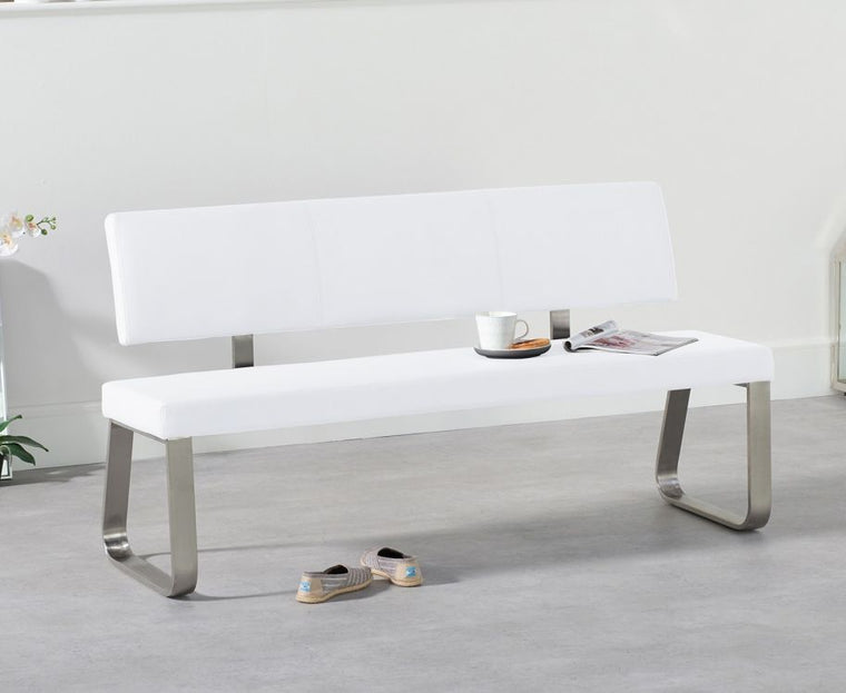 Mark Harris Malibu Large White Bench With Back