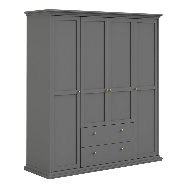 Axton Westchester Wardrobe with 4 Doors and 2 Drawers In Matt Grey