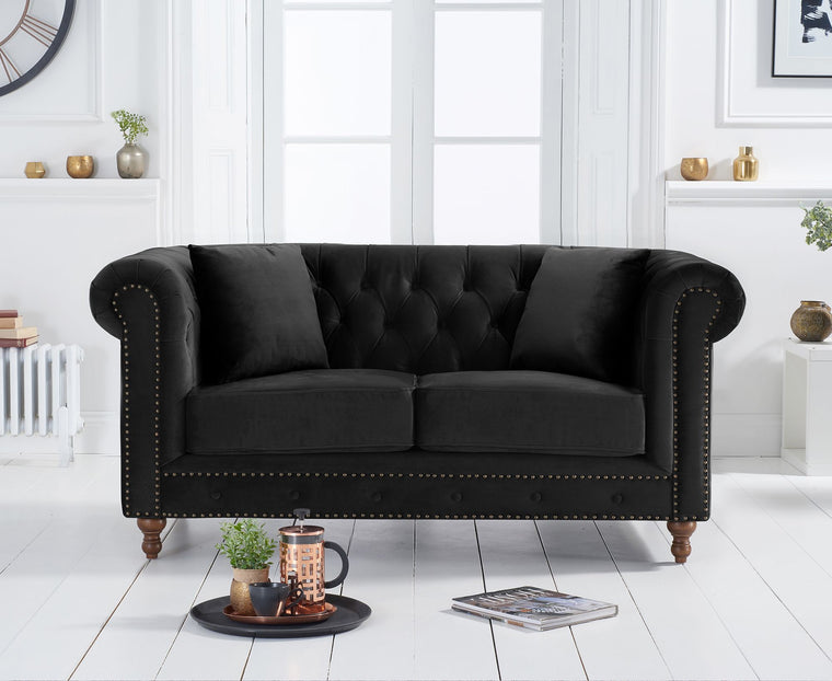 Montrose Chesterfield Black Velvet 2 Seater Sofa