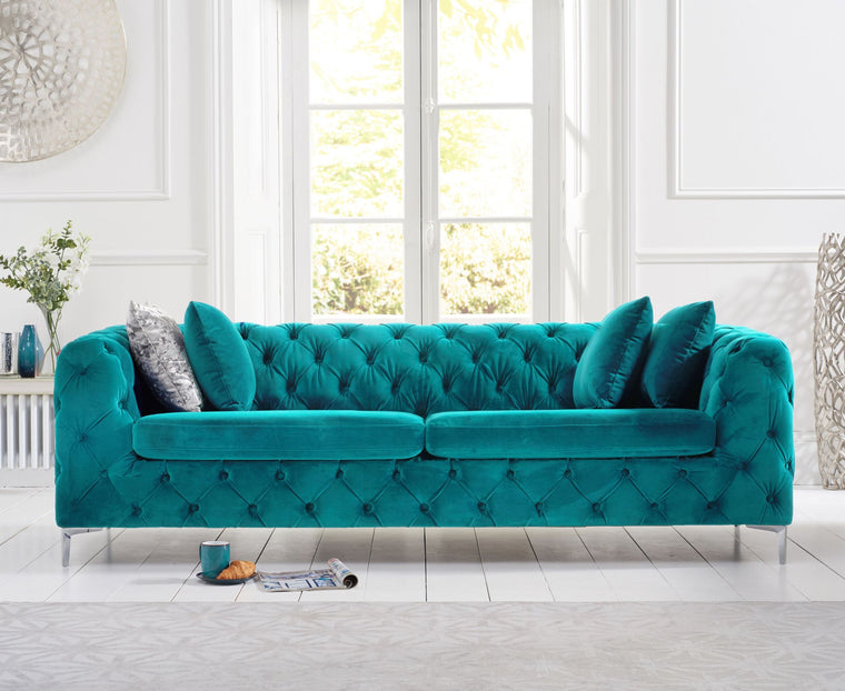 Mark Harris Alegra Teal Plush 3 Seater Sofa