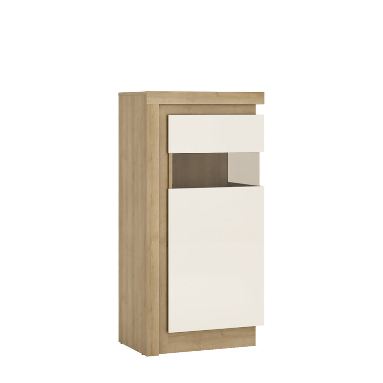 Axton Woodlawn Narrow Display Cabinet (RHD) 123.6cm High In Riviera Oak/White High Gloss