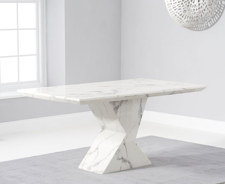 Allen 160cm Ivory White Marble Dining Table